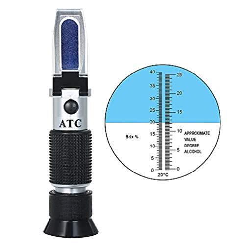 KKmoon Rifrattometro Concentrazione di Zucchero Vino, Misuratore di Alcol Portatile, Rifrattometro Portatile ATC Brix per UVA Densimetro Tester di Concentrazione Zucchero Bevande Ottiche