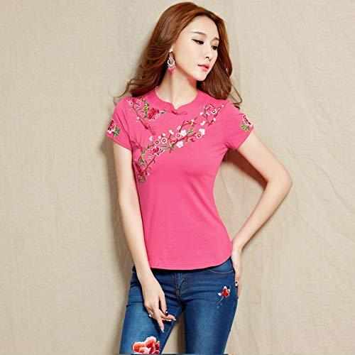 2020 zomer nieuwe nationale wind geborduurd katoen korte mouwen t-shirt grote werven vrouwelijke Chinese kostuum geborduurde blouses merk: QWERTY (Kleur: Donker rood, Maat : 2XL)