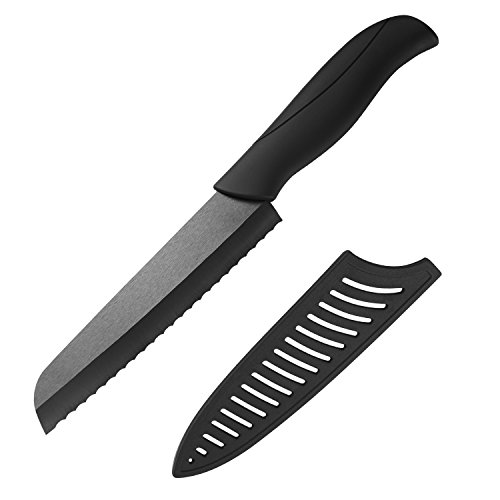 Best Ceramic Bread Knife - Serrated Ceramic Knife Blade Never Needs Sharpening - 6' Sharp Blade, Eco Friendly