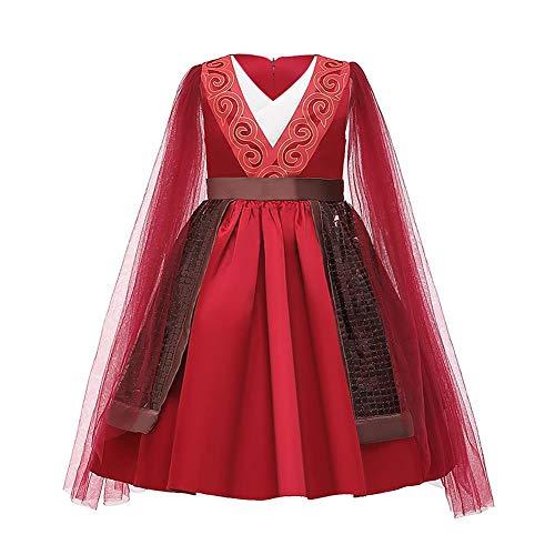 IBAKOM Disfraz de Princesa Mulan Niña Vestido Cosplay Cuento Hadas Hanfu Chino Tradicional Carnaval Halloween Disfraces Rojo 5-6 años