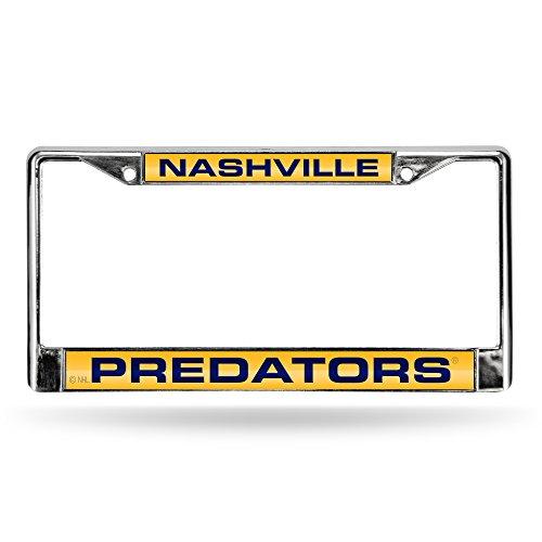 NHL Nashville Predators Laser Cut Inlaid Standard Chrome License Plate Frame, Chrome