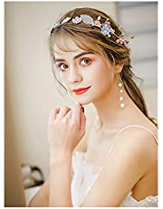 QFF Q Corona de Flores Hecho a Mano Corolla Diadema Bohemia Pendientes del Pelo Conjunto Hermosa Boda Tiara Gris Super Fairy Coreano Accesorios para el Cabello F