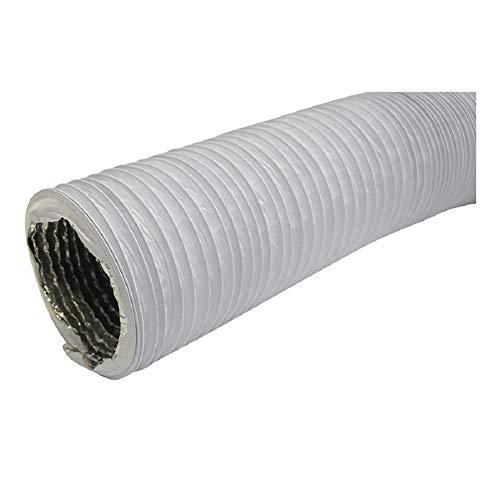 Ø 125mm Weiß Abluftschlauch - Länge 1m mit Alu-Isolierung - für Trockner, Klimaanlage, Abzugshaube - Combi-Flexrohr Alu/PVC Flexrohr