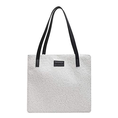 "Wild Pure Color Cabelo de cordeiro feminino bolsa fashion casual retrô, Branco, 11.81*10.63*4.13"""