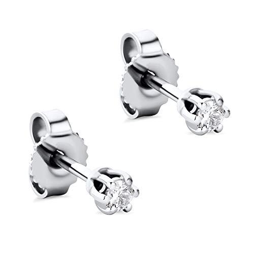 Orovi Pendientes para mujer con diamantes de oro blanco de 14 quilates (585) y diamantes brillantes de 0,08 quilates, hechos a mano en Italia