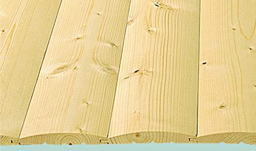Rettenmeier 19x121x3000mm 2 (5 Bretter und Einer Deckfläche 1,67 M2 je Bund) Profilholz Blockhaus Massivholzprofile für Wand und Decke HF-Qualität Fichte/Tanne PEFC Zertifiziert, unbehandelt