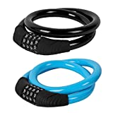 PALMFOX Bike Lock 2-Pack - 24inches Bike Lock with 4-Digit Password - Prevent The Theft of Bike - Various Color Combinations