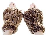 Surell Rex Rabbit Textile Knit Fingerless Glove - Winter Texting Mittens - Luxury Cold Weather Clothing (Golden Brown)