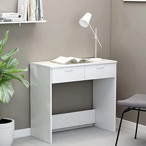 vidaXL Biurko z 2 szufladami, biurko komputerowe, stół roboczy, stolik na laptopa, stolik do komputera, młodzieżowy, biurko dziecięce, białe, 80 x 40 x 75 cm płyta wiórowa