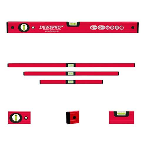 DEWEPRO 3-tlg. Profi-Set - Aluminium Wasserwaage - rot lackiert - 3-teilig - Längen: 100cm + 150cm + 200cm - Messtoleranz: 0,5mm/m - Aluwasserwaage Aluminiumwasserwaage