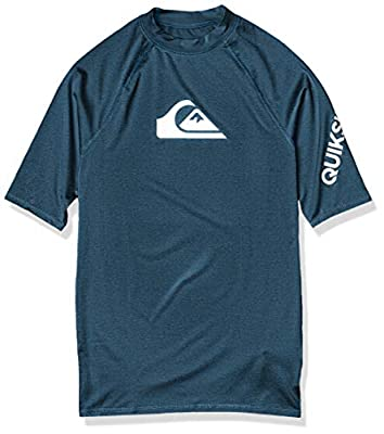 Quiksilver Men's All TIME SS Short Sleeve Rashguard SURF Shirt, Majolica Blue Heather, L