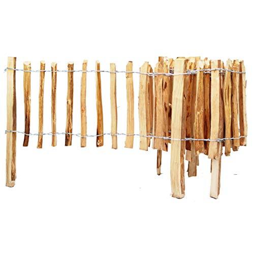 BOGATECO Haselnuss Roll-Steckzaun aus Holz | 60cm Hoch & 500cm Lang | Holz-Zaun | Lattenabstand 4-5cm | Staketenzaun Perfekt als Beet-Umrandung oder Weg-Abgrenzung