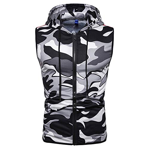 ZZOU Mens Hooded Sleeveless Vest Style Military Outdoor Gym Running Cycling Sportswear Tank Top Casual Camouflage Slim Fit Zipper Pullover Tracksuit Tops T Shirts Hoodie Blouse Clothes Camo Hoody