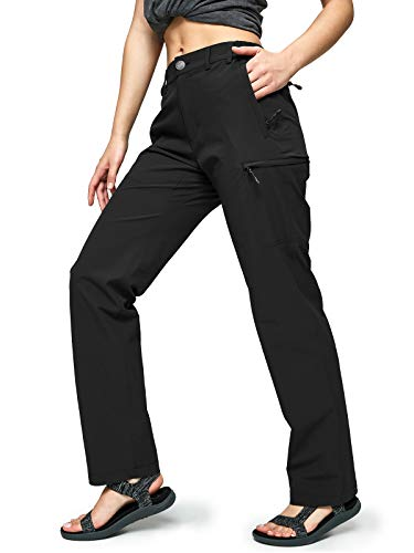 MIER Women's Quick Dry Cargo Pants Lightweight Tactical Hiking Pants with 6 Pockets, Stretchy and Water-Resistant, Black, 8