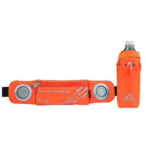 Bluelover Sport Marathon Musique Sac Banane Pack Iphone 7 Plus Pochette Ceinture avec Haut-Parleur Amplificateur Audio - Orange