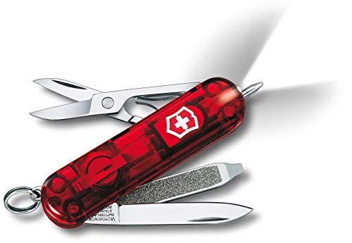 Victorinox Taschenmesser Signature Lite (7 Funktionen, Kugelschreiber, LED-Licht) rot transparent