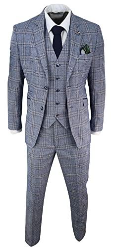 Costume Homme Bleu Marine 3 pièces Tweed à Chevrons Vintage Style rétro années 20 Peaky Blinders