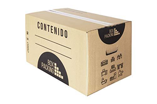 BOXPACKING   Caja de Cartón Mudanza y Almacenaje   Con Asas   Pack 15 Cajas   Tamaño Mediano: 43x30x25 cm