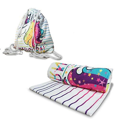 IMAGO Toalla 2 en 1, práctica toalla de playa con función de mochila, toalla de baño para transformar la mochila en 70 cm x 150 cm (unicornio a rayas)