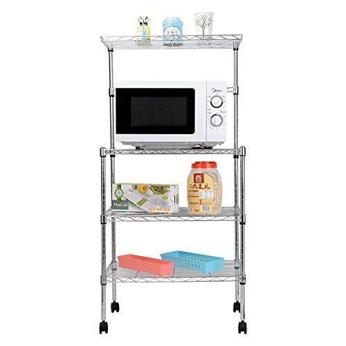 Premium 3 Tier Baker's Rack Microwave Stand Storage Rack with Wheels by Blackpoolfa | Kitchen Wire Shelving Microwave Oven Baker's Rack with Spice Rack Organizer