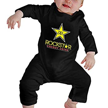 Rock-Star Energy Drink Newborn Baby Boys Girls Rompers Long-Sleeve Cotton Bodysuit Jumpsuit Onesies Outfits Black