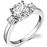 Stainless Steel Round Cut Three Stone Wedding Engagement Anniversary Promise Ring (Silver, 6)