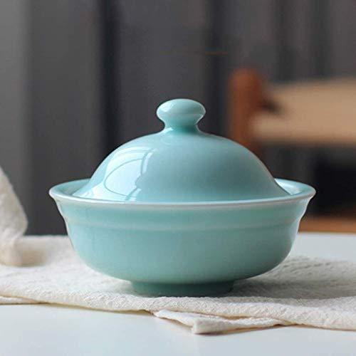 Casserole Mini Pot à Ragoût En Céramique Avec Couvercle, Bol De Pot De Soupe à La Vapeur, Bol En Céramique Pour Micro-ondes, Petit Pot à Soupe, Bol De Nouilles Pour(Color:UNE,Size:12.3x5.5cm(5x2inch))