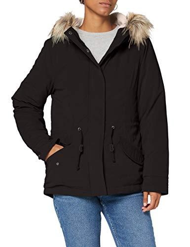 ONLY Damen Winterjacke Onlnew Lucca mit Fell-Kapuze 15205715 Black XL