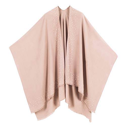 MELIFLUOS DESIGNED IN SPAIN - Poncho para mujer, ruana con parte delantera abierta, ideal para otoño e invierno - beige - Talla Única