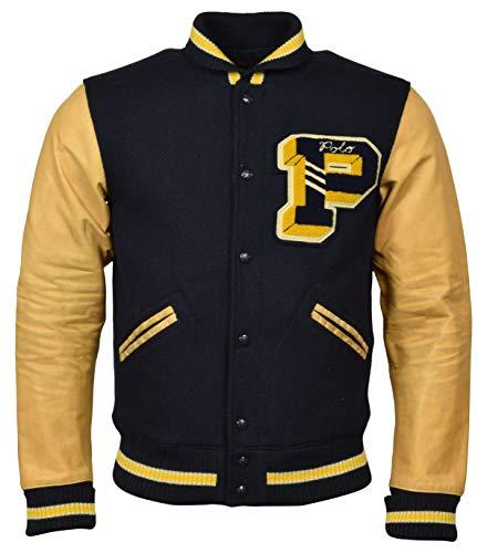 Polo Ralph Lauren Men's Wool Letterman Varsity Patch Jacket - S - Navy/Tan