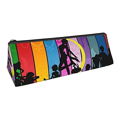 Estuche de lápiz de triángulo lápiz borrador de oficina suministros escolares, bolsa de papelería bolsa de cosméticos anime lindo