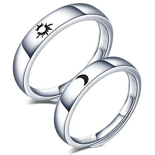 CPSLOVE Anillo de plata de ley 925 para pareja, anillos de boda de sol y luna huecos, tamaño ajustable, regalo de aniversario de bodas de Navidad para el día de San Valentín