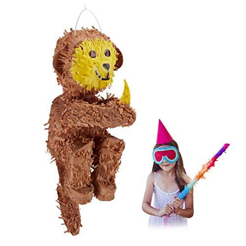 Relaxdays Pinata Affe, zum Aufhängen, Kinder, Mädchen & Jungen, Geburtstag, Dschungelparty, zum Befüllen, Papier, braun