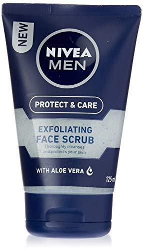 NIVEA MEN Protect & Care Exfoliating Face Scrub (125ml), Invigorating Men's Face Scrub and Face Cleanser with Aloe Vera