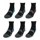 Fruit of the Loom Boys' 6-Pair Half Cushion Ankle Socks (Large (Shoe 3-9), Black 1)
