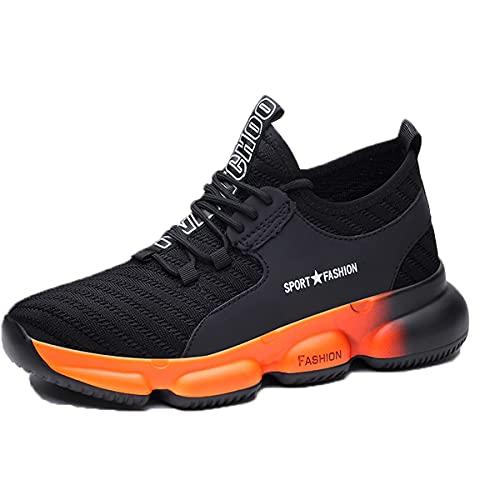 Veiligheidsschoenen Heren Dames Werkschoenen Stalen neus Lichtgewicht Ademende Schoenen Sportieve Trainers Werkveiligheidsschoenen Werk Industriële Sneakers Orange 39 EU