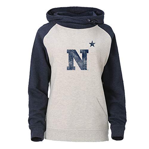 Ouray Sportswear NCAA W Asym Redux - Sudadera con Capucha para Mujer, Oatmeal/Azul Marino Jaspeado, Large