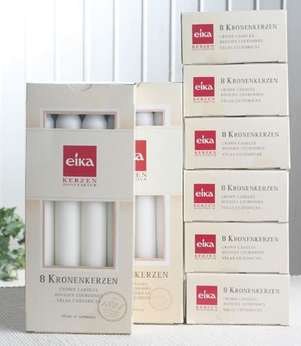Eika 64 Kronenkerzen/Haushaltskerzen (8x8er-Pack), Weiß
