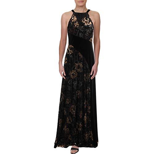Price comparison product image Aidan Mattox Womens Velvet Burnout Maxi Dress Black 4