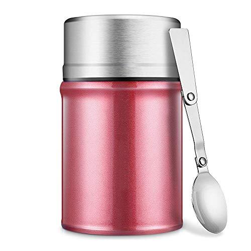 fiambrera Tarro aislantes for alimentos de boca ancha for comida caliente 26 oz con la cuchara de acero inoxidable libre de BPA termo envase del almuerzo, a prueba de fugas de vacío de doble pared con