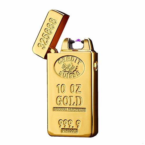 Emsmil USB Mechero Electrico Encendedor Lighter Antiviento Electronico Recargable Doble Arco sin Llama para Cigarrillos Metal Clasico de Hombre Oro
