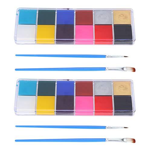 2 juegos de pintura corporal de 12 colores, pintura corporal para la cara, pintura al óleo, kit de maquillaje para fiestas artísticas, pintura corporal con pinceles