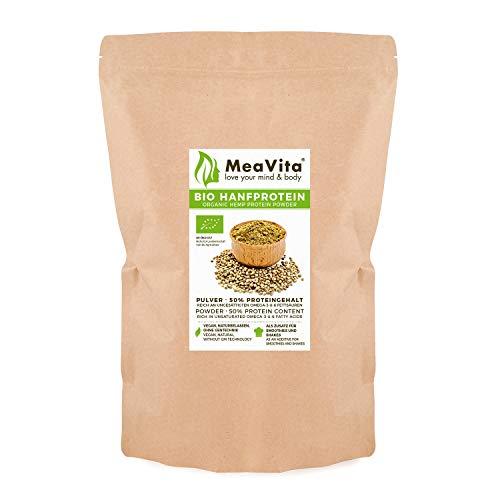 MeaVita Bio Hanfprotein Pulver, hoher Proteingehalt, pflanzliches Proteinpulver, 1er Pack (1 x 1000g)