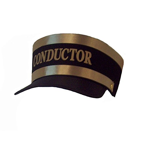 Black Engineer Train Conductor Hat Cap with Gold Lettering and Trim