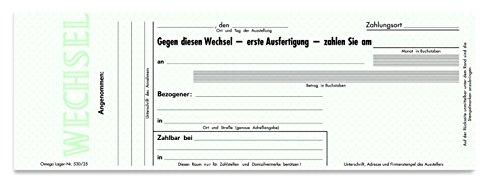 Omega Druck Wechselheft ohne Währung 530/25, 29 x 10.5 cm, 25 Blatt