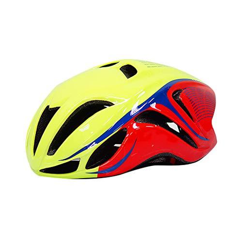 Casco De Ciclista, Bicicletas Cascos Mate Unisex Casco De La Bici Montaña Trasera CaminoMoldeado Integralmente Ciclismo Transpirable Montaña MTB DCamino Casco De La Bici,Yellow Red