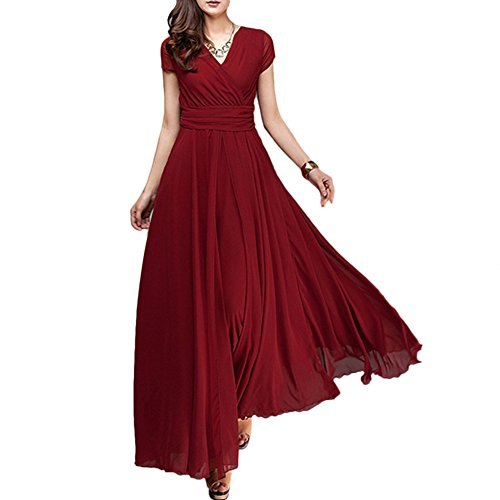 Women's Vintage Deep V Neck Chiffon Long Bridesmaid Dress Flowy Wedding Pageant Party Prom Formal Cocktail Evening Gown Maxi Dress Dark Green Small