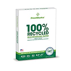 Printworks 100 Percent Recycled Multipurpose Paper, 20 Pound, 92 Bright, 8.5 x 11 Inches, 400 sheets (00018), White