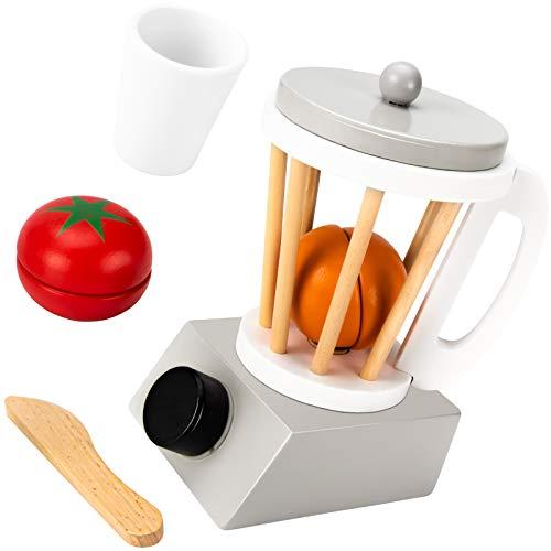 iNeego Holzspielzeug, Spielzeugnahrung Holzküche Holzspielnahrung Holzspielzeug Rollenspiel Spielset Geschirr Küchengarnitur Holzküchenspielzeug Holz-Real-Food-Geräte für 3-6 Jahre (Entsafter)
