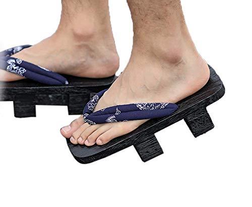 Herren Japanische Holzschuhe Sandalen Japan Traditionelle Schuhe Geta Wide Sole Flip Flops, NO.5
